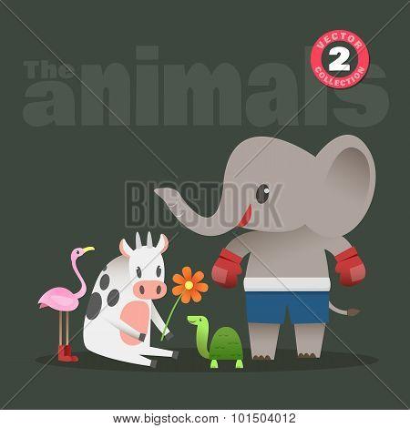 Cute Animals Cartoon Including Elephant Cow Turtle Flamingo Bird