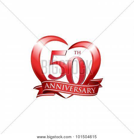 50th anniversary logo red heart ribbon