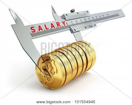 Small salary concept. Caliper measuring coins with dollar sign. 3d
