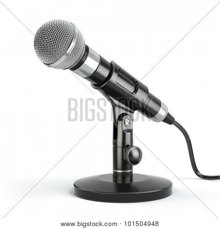 Microphone isolated on white. Karaoke or news concept. 3d