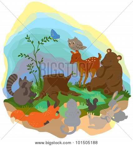 Cartoon Forest Wilderness Landscape With Many Wildlife Animals Surrounding The Tree Trunk Grub