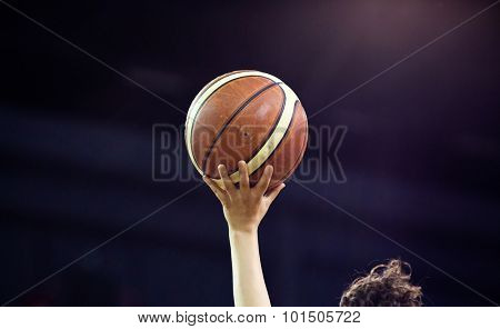 Ball in hands of referee