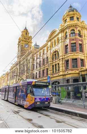 A tram outside the Flinders Street Station in Melbourne