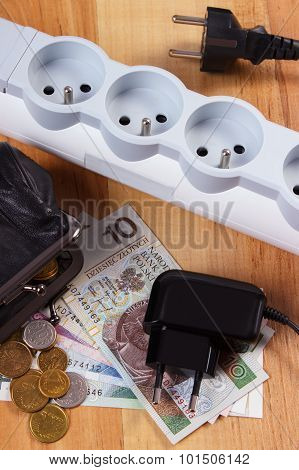 Electrical Power Strip With Disconnected Plugs And Polish Currency Money, Energy Costs