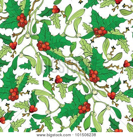 Vector Mistletoe Holly Berries Seamless Pattern. Vibrant Red Green