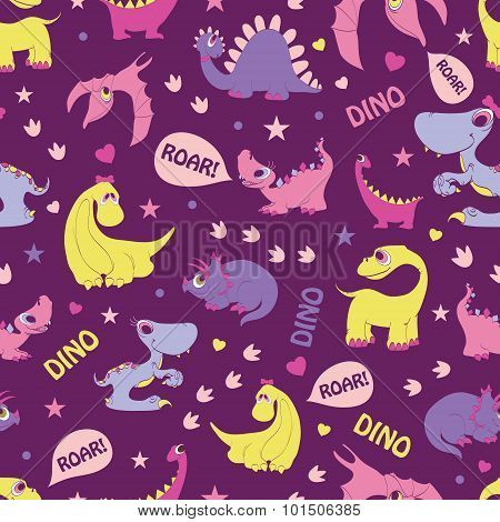 Vector Girly Dinosaurs Roaring Seamless Pattern. Blue Tyrannosaurus, Pink Stegosaurus, Yellow Diplod