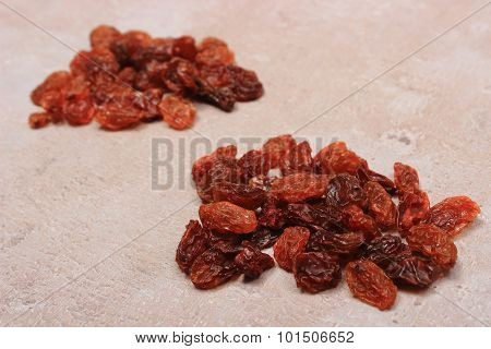 Brown Raisins On Structure Of Concrete, Healthy Eating