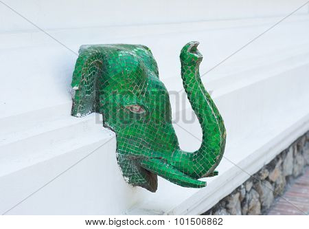 Green Mosaic Elephant Head At Haw Pha Bang , Luang Prabang , Laos