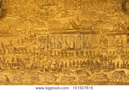 this Image Shows A Wat Detail, Wall,   In  Wat Mai
