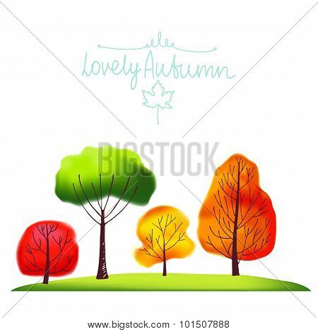 Group of autumn trees