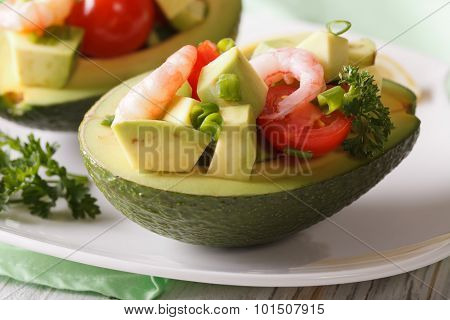Avocado Stuffed With Shrimp Salad Macro On A Plate. Horizontal