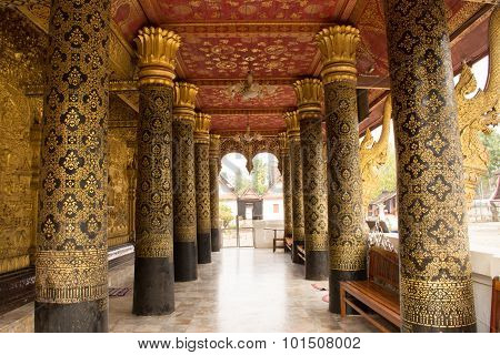 .this Image Shows A Wat Detail, Pole,  In  Wat Mai  (luang Prabang, Laos)