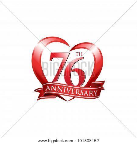 76th anniversary logo red heart ribbon