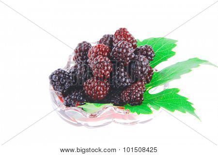 image of wild berry on tranparent glass over white