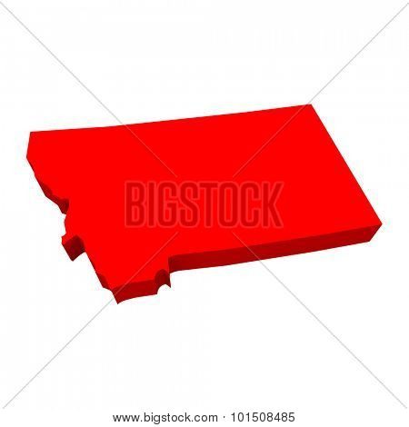 Montana MT Red USA 3d State Map