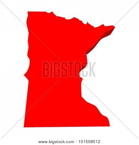 Minnesota MN Red USA 3d State Map