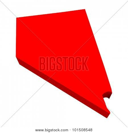 Nevada NV Red USA 3d State Map