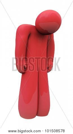 Red sad 3d person with head down, alone, isolated or depressed with down feelings and emotion