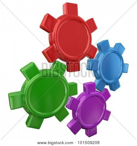 Four colorful gears in a machine or device turning with blank copy space for your text or message