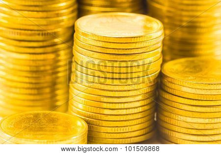Golden Coins Close Up Background