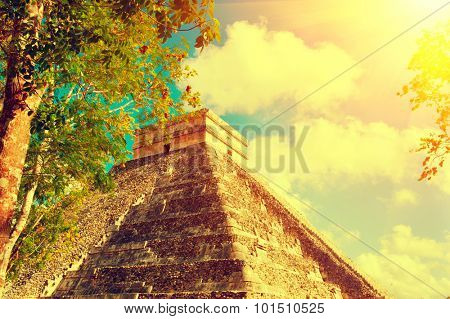 Mayan Pyramid Chichen Itza, Mexico. Ancient Mexican tourist attraction. Maya civilization. Vintage style