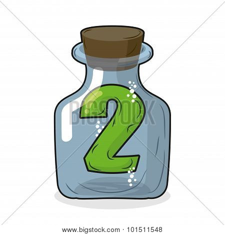 Figure Two In Laboratory Bottle. Figure 2 In The Magic Bottle With A Wooden Lid. Research Of Two. Ve