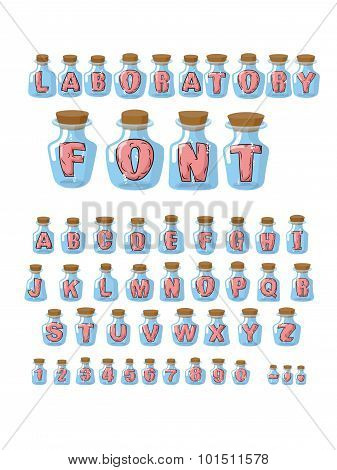 Laboratory Font. Pink Live Letters In Glass Laboratory Flasks. Alphabet In Jar For Research. Vector