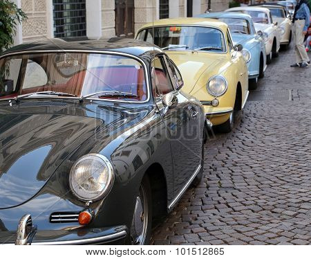 Vicenza, Vi, Italy - 12Th September, 2015. Many Vintage Car By Porsche Brand