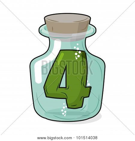4 In Laboratory Bottle. Figure Magic Vessel With A Wooden Stopper. Four For Scientific Experiments.