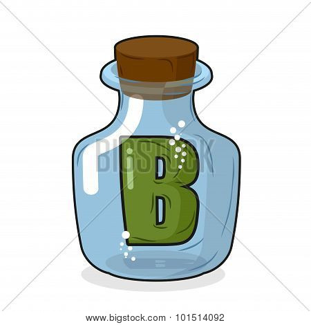 Letter B In  Laboratory Bottle. Letter In A Magic Bottle With A Wooden Lid. Scientific Research. Vec