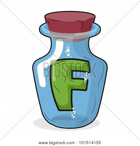 F In  Bottle For Experiments. Letter In Vessel. Laboratory Research Vessel. Vector Illustration Lett
