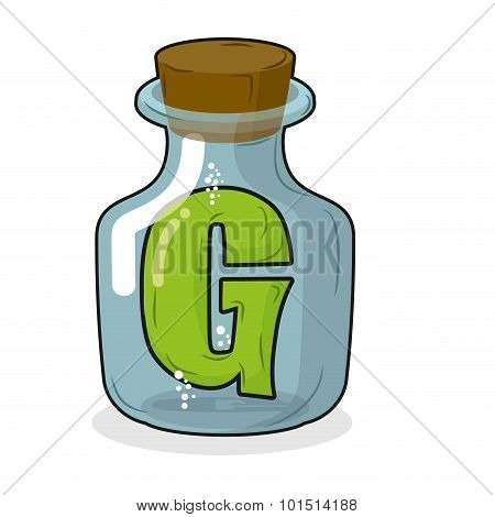 G In  Bottle For Scientific Research. Letter In A Magical Vessel With A Wooden Stopper. Laboratory