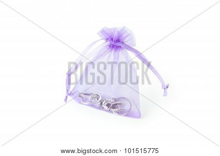Pouch With Jewerly Isolated On White