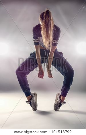 Female Hip Hop Dancer With Hair Covering Her Face