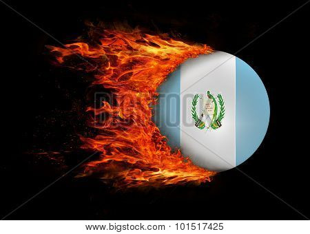 Flag With A Trail Of Fire - Guatemala