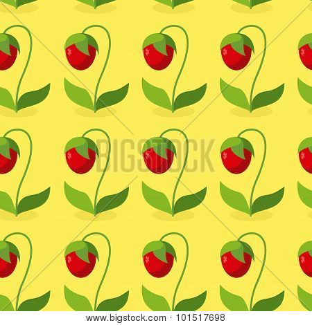 Ripe Red Strawberries With Green Leaves Seamless Pattern. Vector Background Of Berries. Hilarious Vi