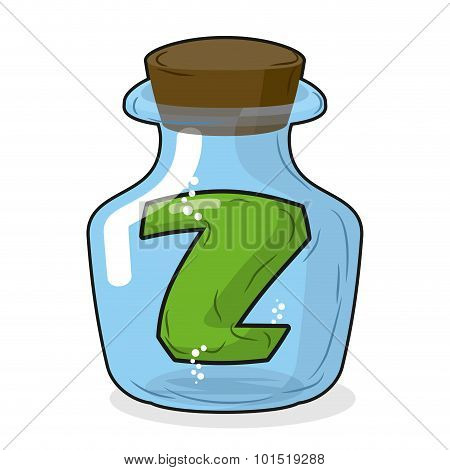 Z In Laboratory Bottle. Letter In  Magical Vessel With A Wooden Stopper. Letter Z For Scientific Exp
