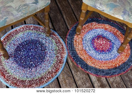 Two Handmade Colorful Rugs