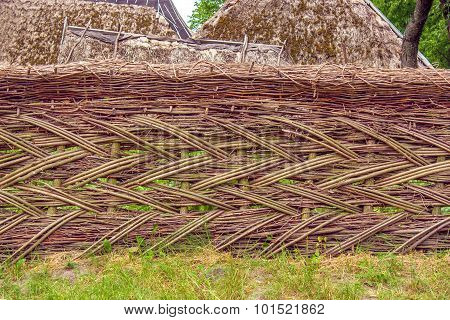Fence Fence Woven Of Vines In Ukrainef