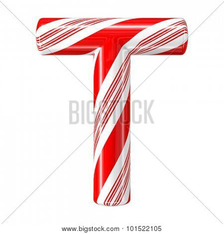 Mint hard candy cane 3d alphabet collection striped in Christmas colours. Letter T.