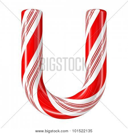 Mint hard candy cane 3d alphabet collection striped in Christmas colours. Letter U.