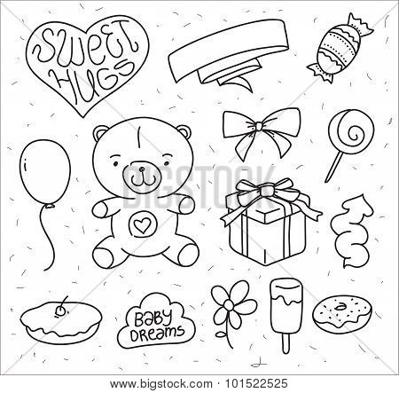 Hand drawn vector baby's elements. Doodle teddy bear, sweet food, gift, baloon. Useful for greeting