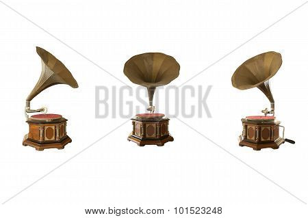 Retro Classic Gramophone For Playing Music Isolated On White Background