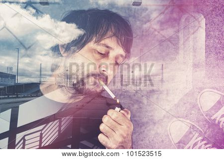 Casual Man Lights Up Cigarette