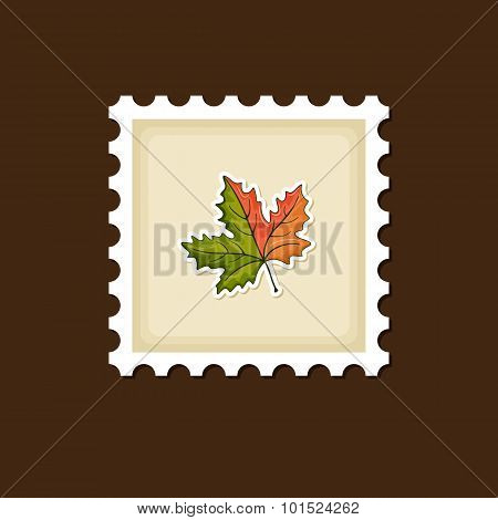Autumn Leaves Stamp, Harvest Thanksgiving Vector