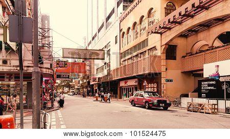 Street and shops of Hong Kong.