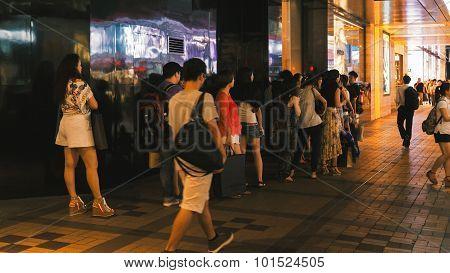 Busy street and shops of Hong Kong.
