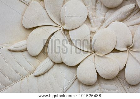Closeup Plumeria Carved Stone Stone Walls, Background