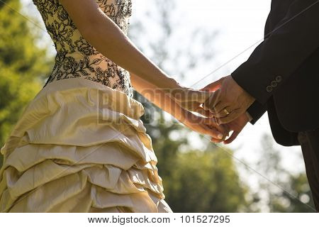 Closeup Of Bride And Groom Facing Each Other Holding Hands