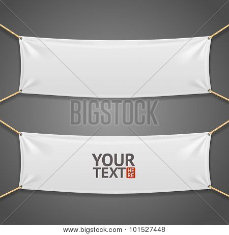 Blanc Fabric Rectangular Banner with Ropes. Vector